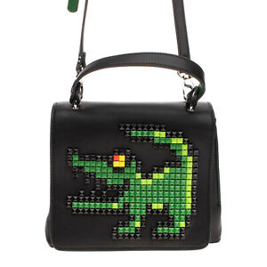 TUA By BRACCIALINI Satchel Bag Studded Crocodile Detachable Strap Top Handle
