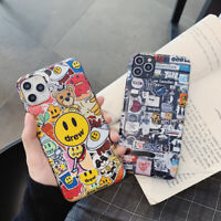 Cute Cartoon Lable Drew Couple Fashion Phone Case Cover For iPhone11ProMax 8Plus