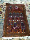 Afghan Hand Knotted Antique  Woollen Rug With Horses