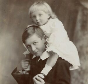 Portrait brother & sister Seaman & Sons cabinet card photograph antique #23