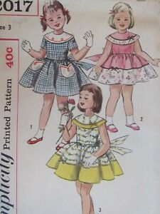 Darling VTG 60s SIMPLICITY 2017 Tdlr Girls Party Dress in 3 Views PATTERN 3/22B