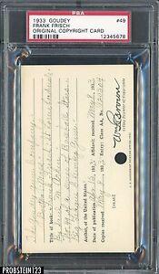 1933 Goudey #49 Frank Frisch Original Copyright Patent Proof Registration PSA