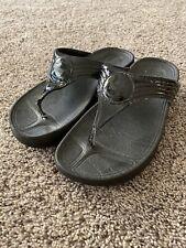 FitFlop Walkstar 3 SN 029-001 Black Comfort Flip Flop Sandal Shoe US 5 EU 36