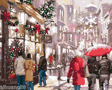 """16X20"""" DIY Paint By Number Kit Oil Painting On Canvas Xmas Snow Street Scenery"""