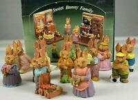 "VINTAGE SWEET BUNNY FAMILY SET OF 12 MINIATURE EASTER RABBIT FIGURINES 2.25"""