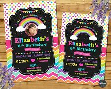 RAINBOW INVITATION PERSONALISED INVITES GIRL BIRTHDAY PARTY SUPPLIES PHOTO CARD