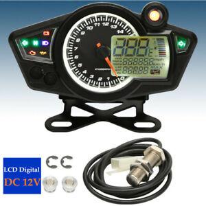 Motorcycle LCD Digital Display Adjustable Odometer Speedometer Sensor Cable Kit