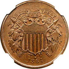 1864 Two Cent Large Motto NGC MS-64 BN