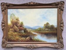 Antique Victorian Oil Painting Of Norfolk River Landscape By George Jennings