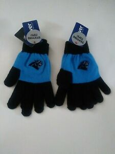 New 2 Pair NFL Carolina Panthers Team Texting Knit Color Block Gloves