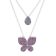 Sterling Silver 18' Gemstone 'Butterfly Kisses' Necklace