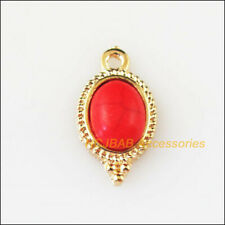 10 New Red Turquoise Charms Gold Plated Oval Flower Pendants 9x17mm