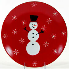 """Crate & Barrel SNOWMAN 8"""" Dessert Salad Plate Red Snowflakes Christmas 647-136"""