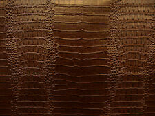 Brown Viny fake Leather Crocodile Nile embossed Faux upholstery fabric sold