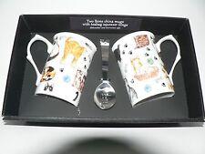 Cats Mug & teabag squeezer Bone China mug with stainless teabag tongs - options
