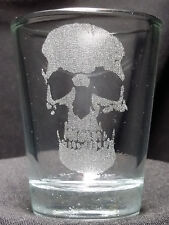 Skull etched shot glass. Can be personalized. Different designs available!