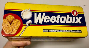 VINTAGE/RETRO EMPTY WEETABIX STORAGE TIN. 1980s Classic Design