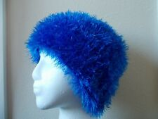 Hand knitted fuzzy & soft beanie/hat,  bright blue
