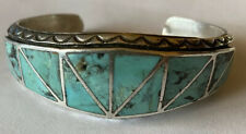 Vintage Sterling Silver Stormy Mountain Turquoise Inlay Cuff Bracelet