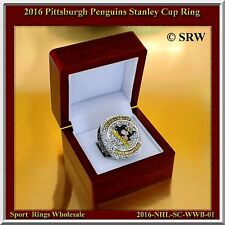 2016 PITTSBURGH PENGUINS ENGRAVED CHAMPIONSHIP RING SIZE 11.25 WOOD DISPLAY BOX