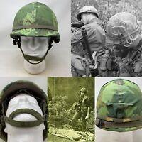 """Rare 1969 US Vietnam Airborne Named """"Camaren"""" M1 Salty Combat Helmet Relic"""