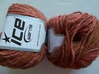 Ice Yarns Wool Cord Aran yarn, salmon olive, lot of 2 (109 yds ea)