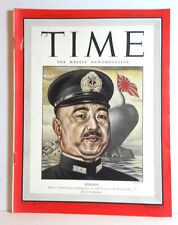 Jul 3, 1944 TIME Magazine- Japan's Shimada on Cover- News/Photos/Ads  VG