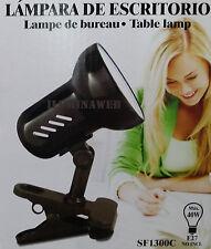 FLEXO con PINZA Negro E27 Lampara para escritorio, cama, mesa...