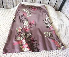 Summer cotton skirt by MONSOON Size 10 - 12 Light brown with multi leaf