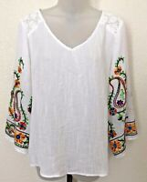 Figueroa & Flower White Floral Embroidered Top Blouse Peasant sz PXL Petite XL