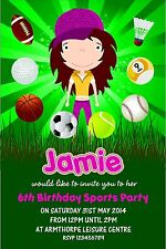 Personalised Birthday Invitations Sports Party x 5