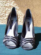 Beverly Feldman RAFAEL Black Patent with Mesh Open Toe Pump Heel - 8.5 M