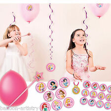 37 Piece Disney Princess Style Pink Balloon Wand Party Game & Award Stickers