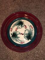 "Gorgeous Gail Pittman Red Grapevine Pottery 14"" Pasta Serving Bowl - EUC"