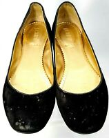 J. Crew Ballet Flats Women's 7 Black Suede Leather Round Toe Slip On Shoes Italy