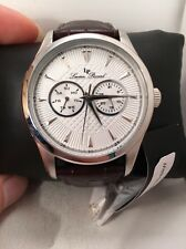 NEW Lucien Piccard LP-12761-02S-BRW Men's BROWN LEATHER BAND, SILVER Watch-H67