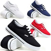 Ladies Womens Flat Lace Up Canvas Plimsolls Gym Trainers Casual Pumps Shoes Size