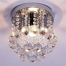 Crystal Droplets Silver Chrome Ceiling Pendant Light Chandelier Fitting Lamp (N)