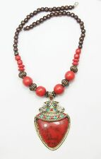 Women's Antique Gold Red Enamel Resin pendant Wooden Beads Necklace Jewellery