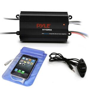 Pyle PLMRMB4CB Waterproof Bluetooth 200 W 4 Channel Marine Power Audio Amplifier