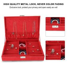 Portable Travel Jewelry Box Organizer Jewellery Ornaments Case Storage Red