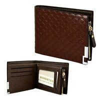 Men's Business Card Holder Coin Pocket Money  Purse Zipper Bifold Leather Wallet