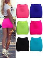 New Womens Neon Lycra Stretch Mini Skirt Ladies Spandex Short Booty Club Sexy