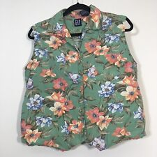 Vintage Gap Vest Women Size Large Green Floral Button Front