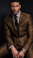 Custom Made Men's Slim Fit Suit Brown Business Formal Party Tuxedos Jacket+Pants