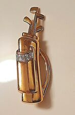 Gold and Crystal Golf Bag and Clubs Pin