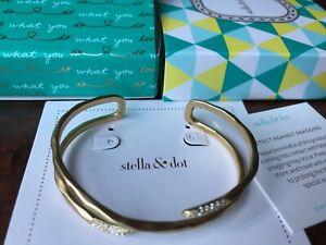 Stella & Dot Aveda gold and pave cuff bracelet, Nearly New in Original Box
