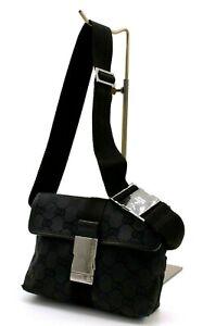 【Rank B】Authentic Gucci GG Canvas Waist Bum Bag Body Bag Crossbody Black Italy