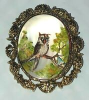 Vintage Painted Owl Cameo-Like Brooch/Pin and Pendant Antique Brass Setting