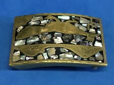ALPACE stepped  Mexico Mother of pearl inlay belt buckle
